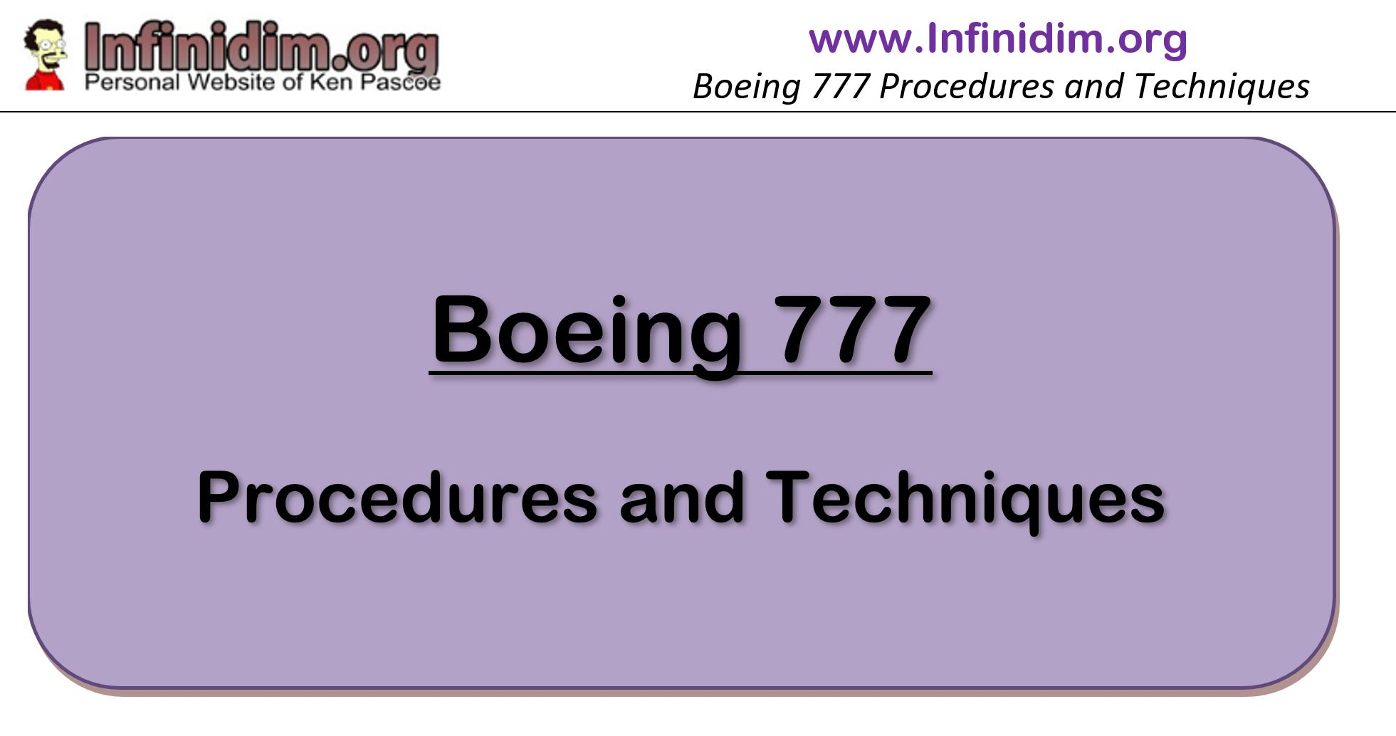 Infinidim B777 Procedures and Techniques – Initial Release